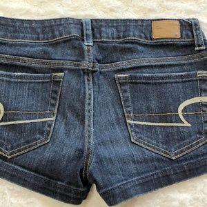 American Eagle Blue Stretch Denim Jean Shorts sz 2
